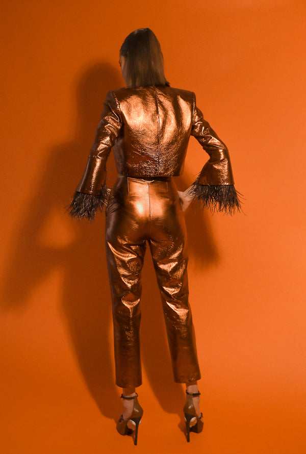 Fitted cigarette pants in bronze leather