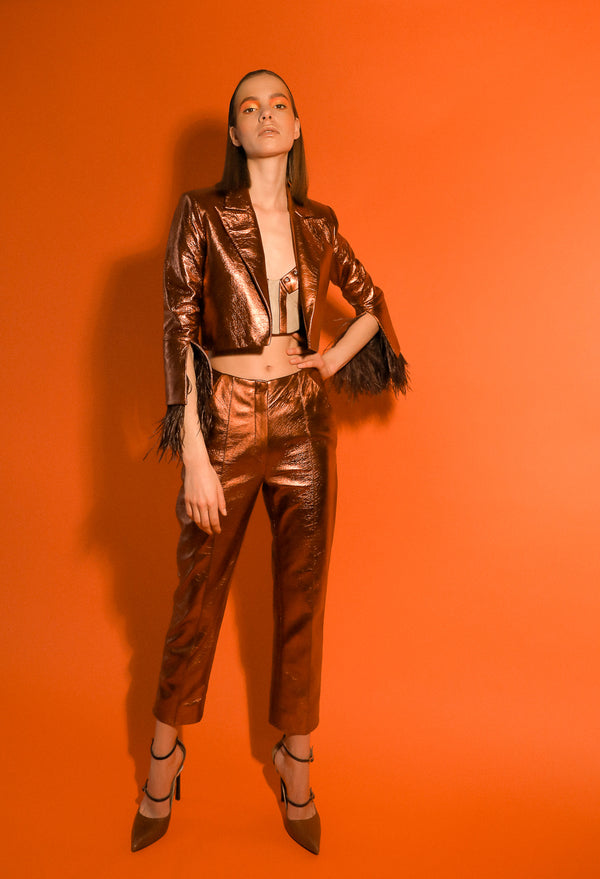 Cigarette trousers in bronze leather