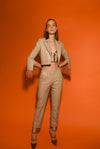 Cigarette sand beige trousers in leather