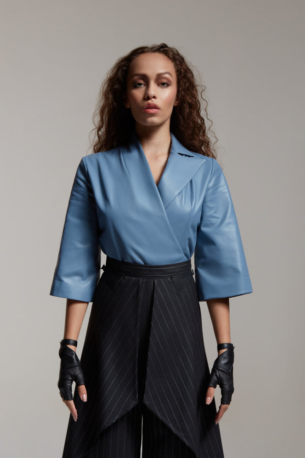 leather wrap top with 3/4 sleeve in blue