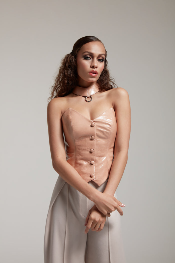nude patent leather corset with buttons and leather choker