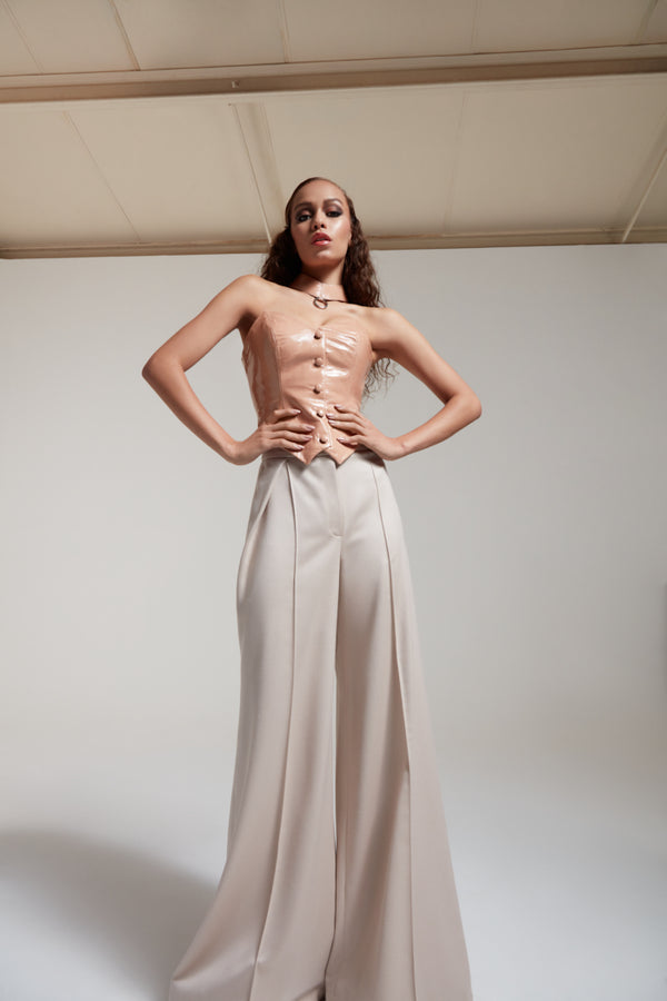 nude leather corset with wide leg wool pants