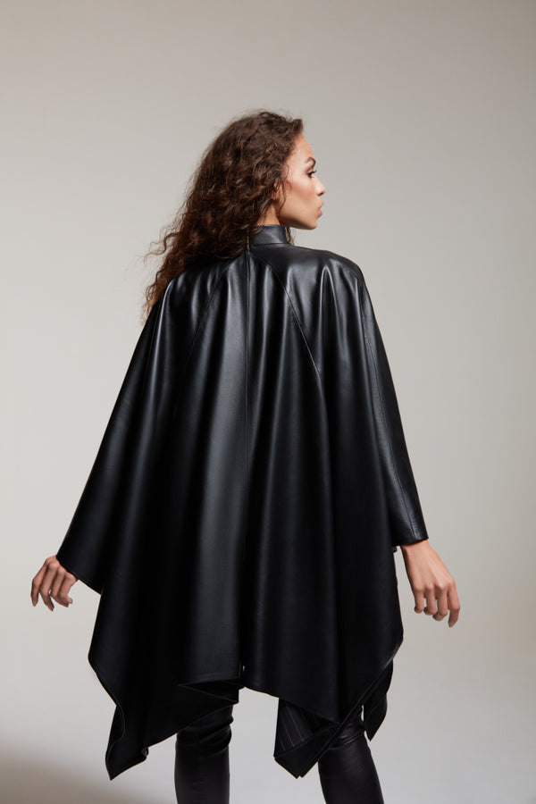 black leather poncho