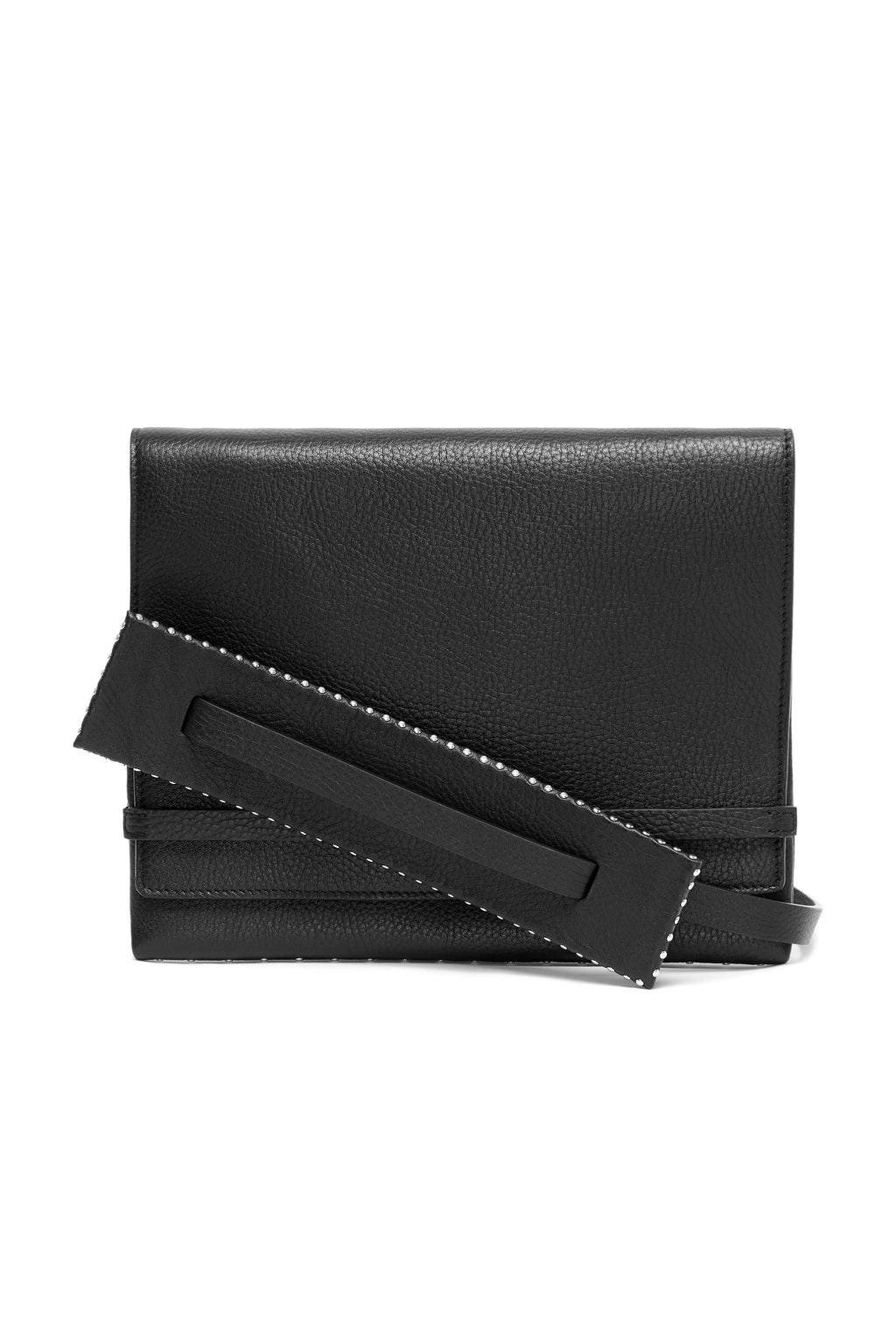 Riot black leather bag with detachable shoulder strap