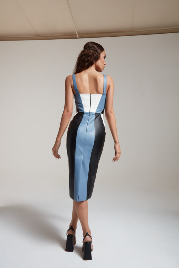 Corset dress in leather with contrasting panels