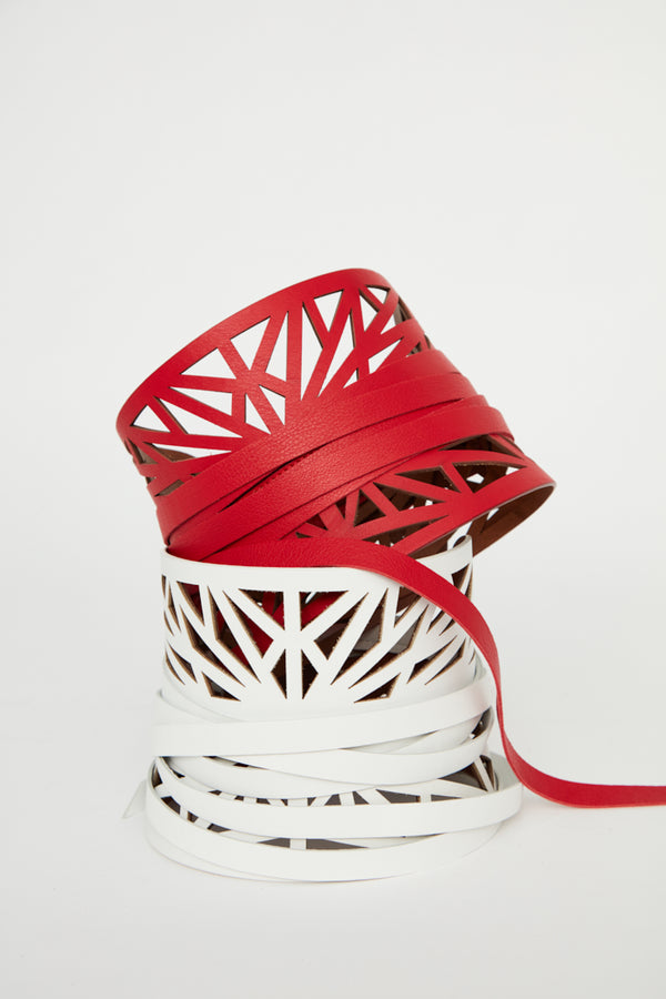 red leather belts cut out