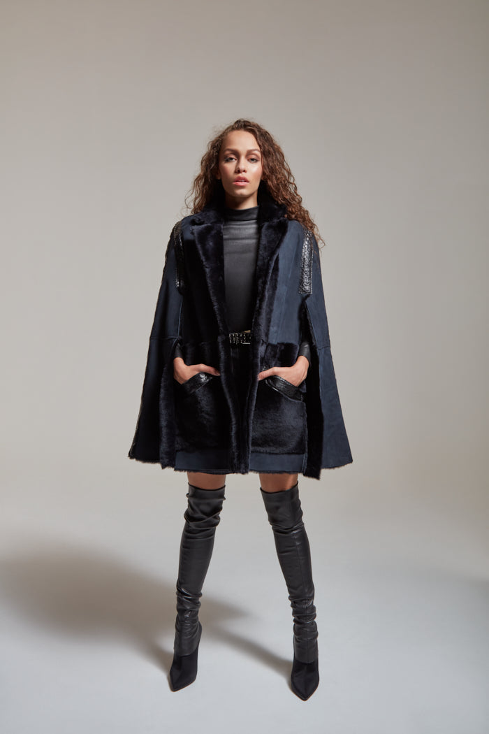 Shearling cape with python details and pockets in navy