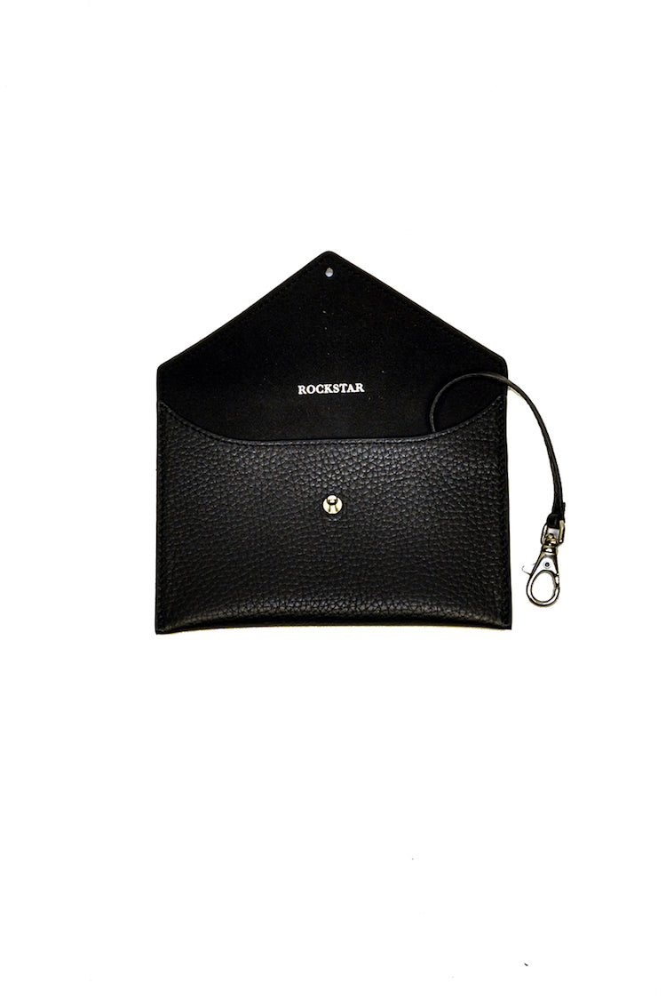 rockstar black leather envelope for keys and cards small leather goods