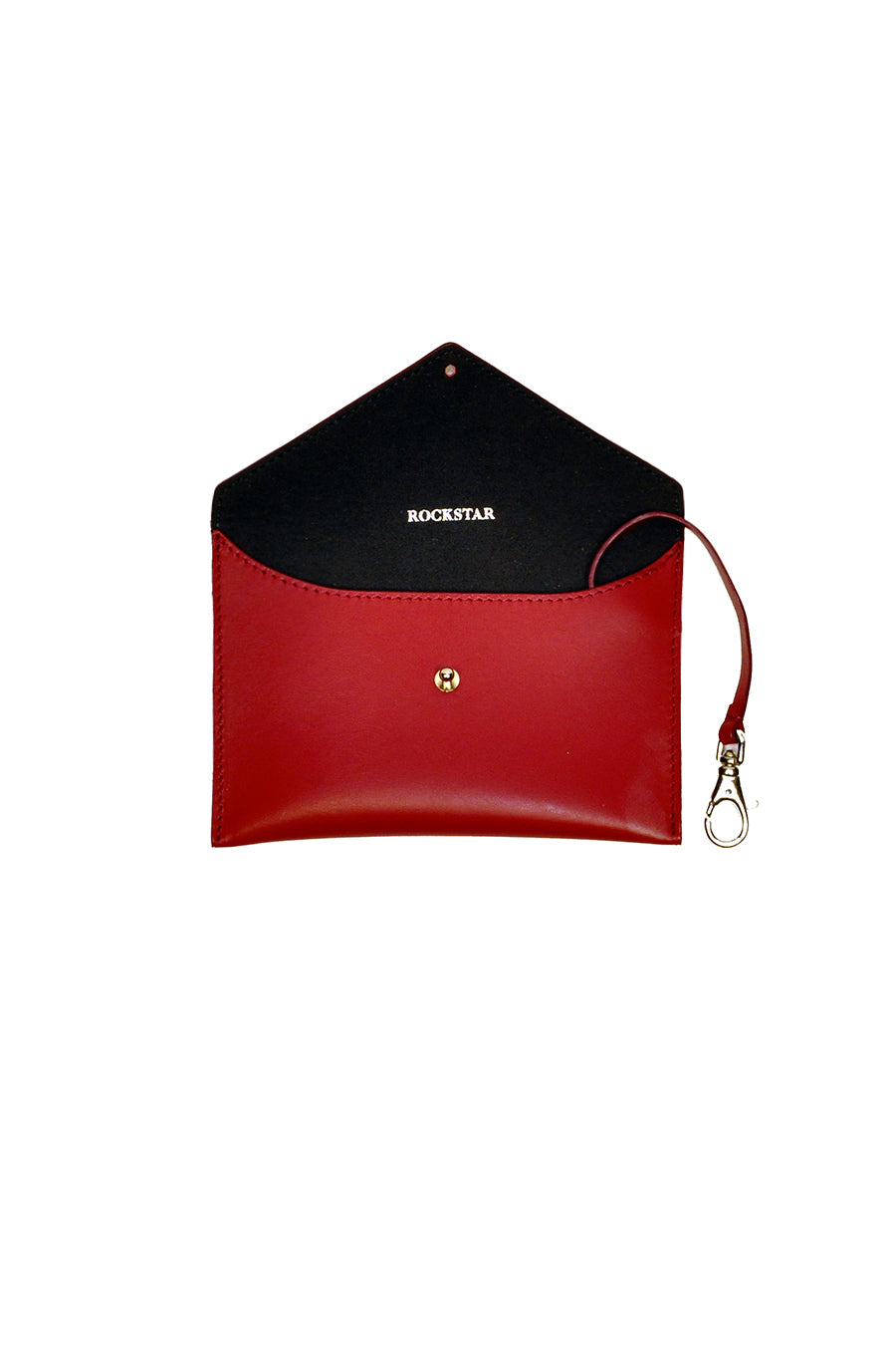 Rockstar leather pouch envelope in red genuine leather