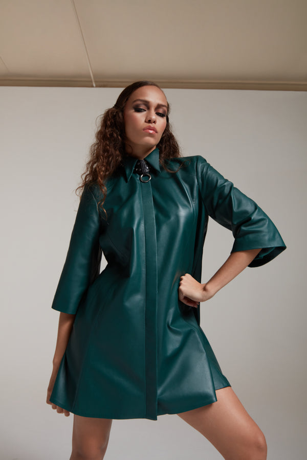Leather shirtdress with a collar in bottle green