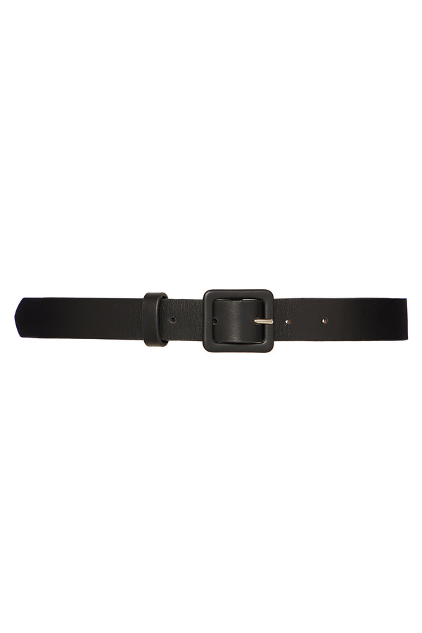 black skinny leather belt with rectangular buckle