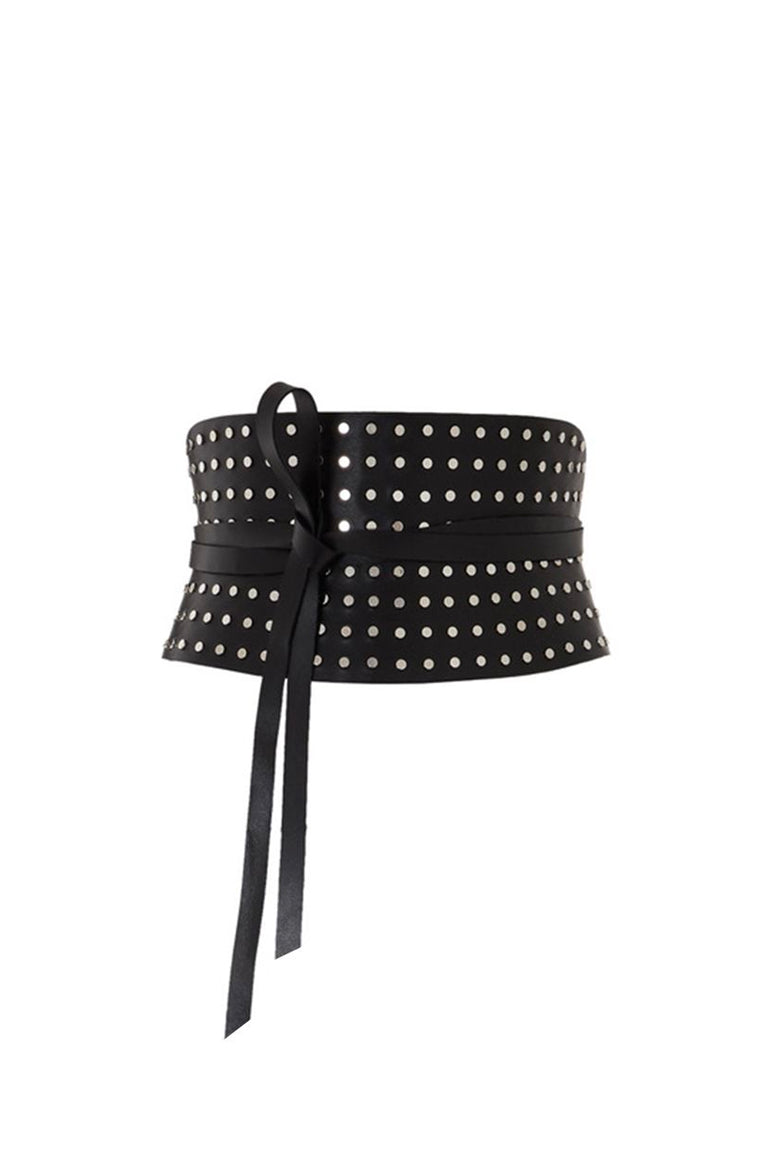 corset belts fully studded in leather