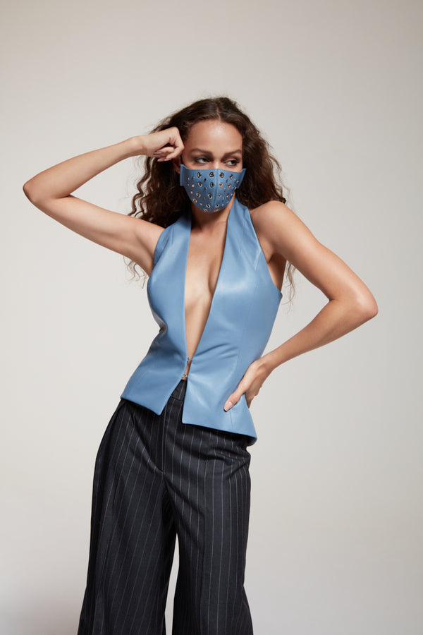 blue halter neck vest in leather with face mask
