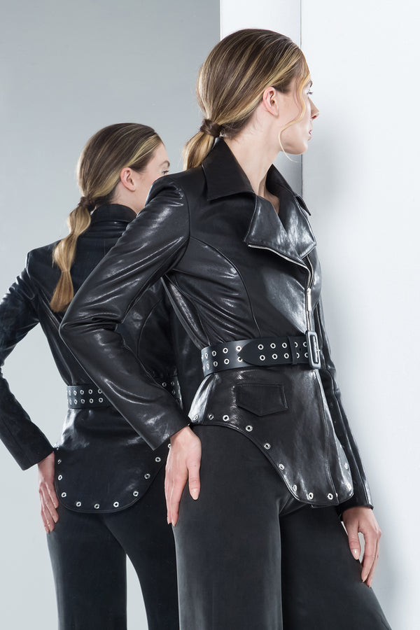 black unreal biker leather jacket with wide belt