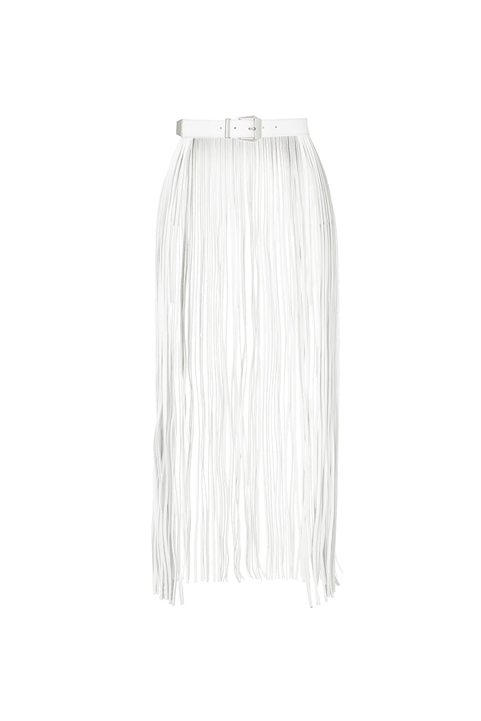 fringe belt in white leather