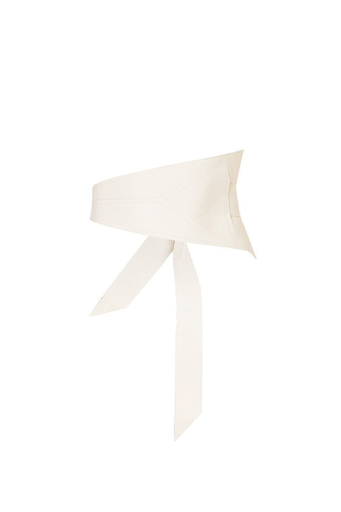 'ELEMENT' SOFT ASYMMETRIC WRAP BELT - ICE WHITE