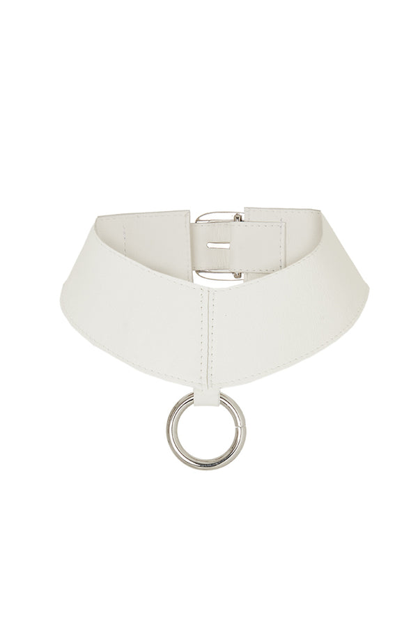 White leather choker with aring
