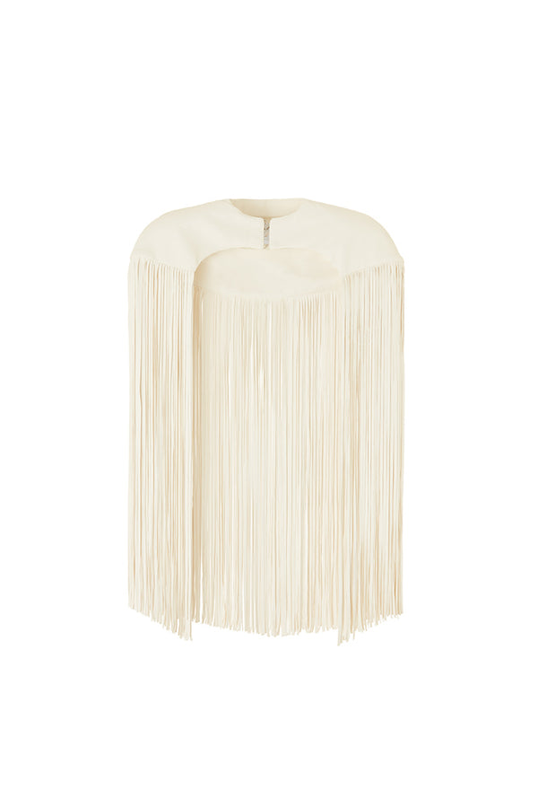 'ELEMENT' FRINGE BOLERO - ICE WHITE