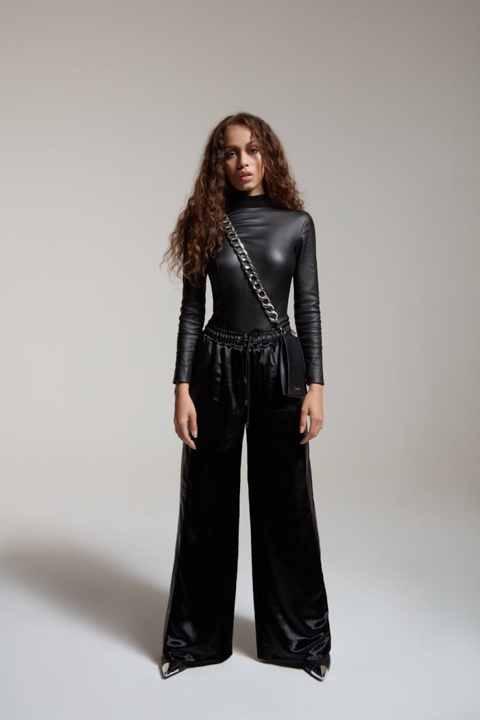 wide leg pants in black velvet and leather