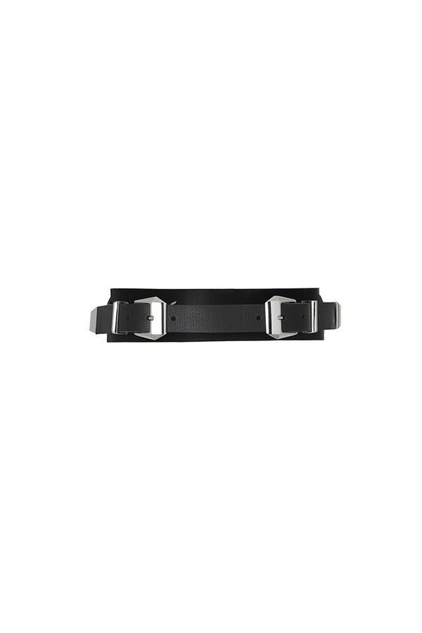 double buckle leather belt in black