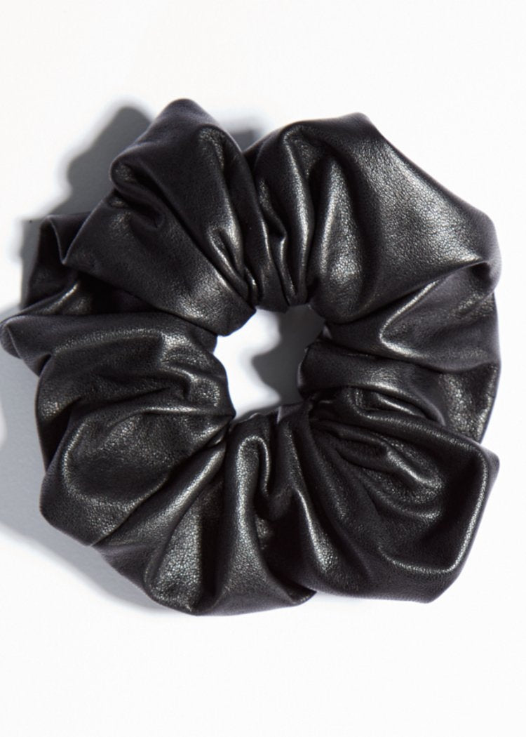 black leather scrunchie accessory