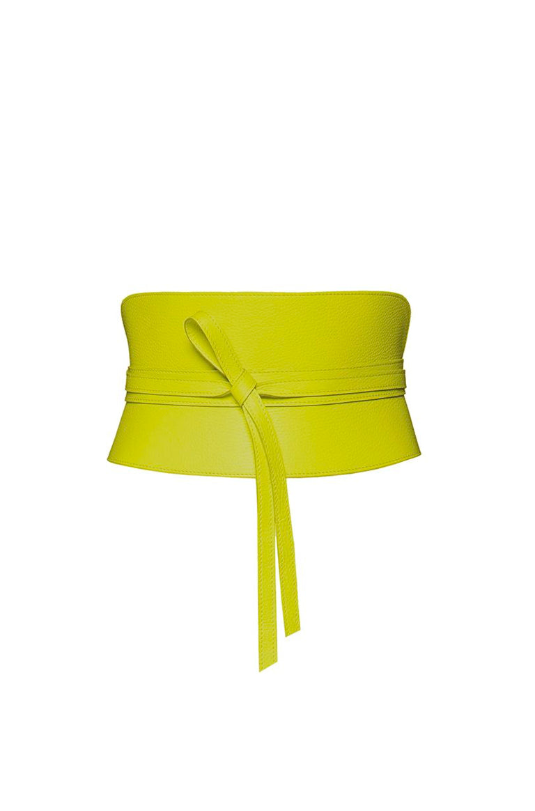 fresh lime leather summer corset obi belt