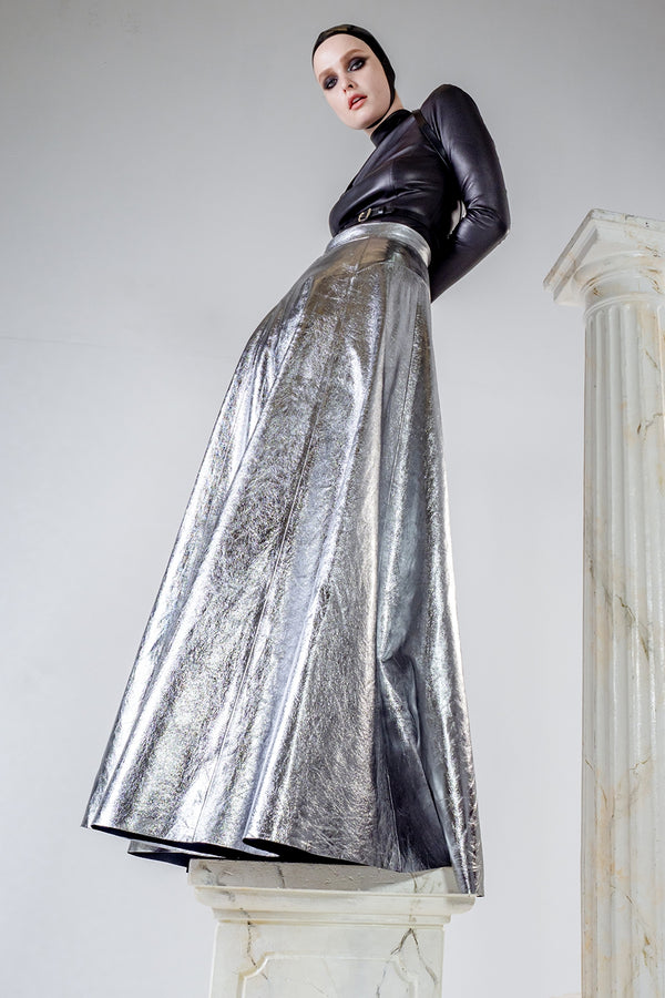 Maxi leather skirt in silver