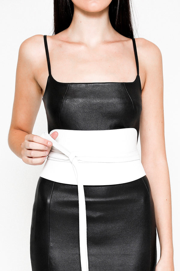 leather obi corset belt in ice white