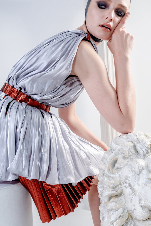 Hebe dress with silk drapes and leather pleats