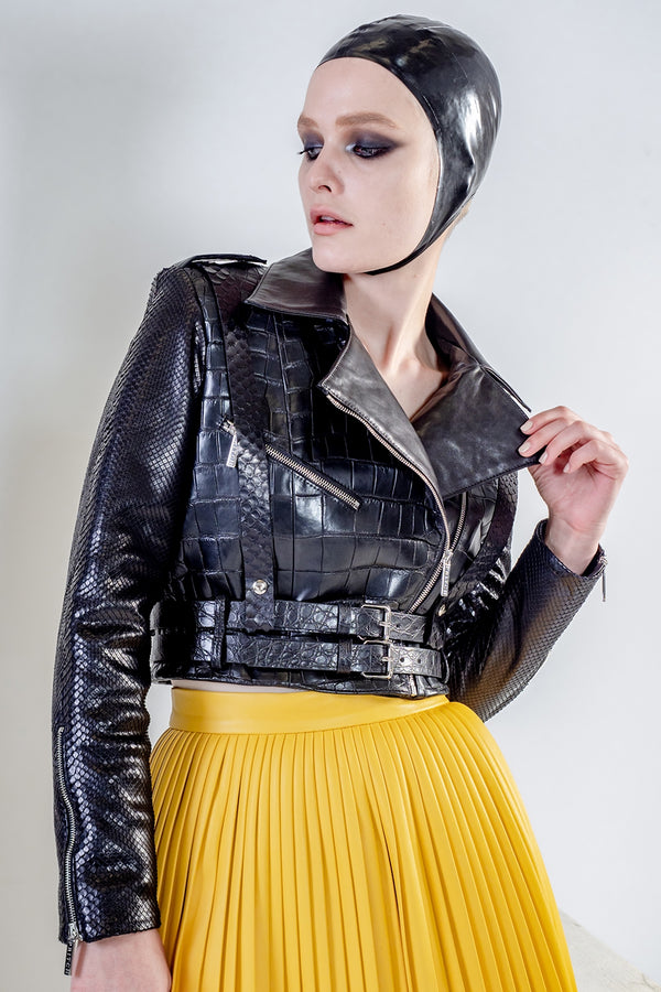 Rhapso cropped black biker leather jacket with belts