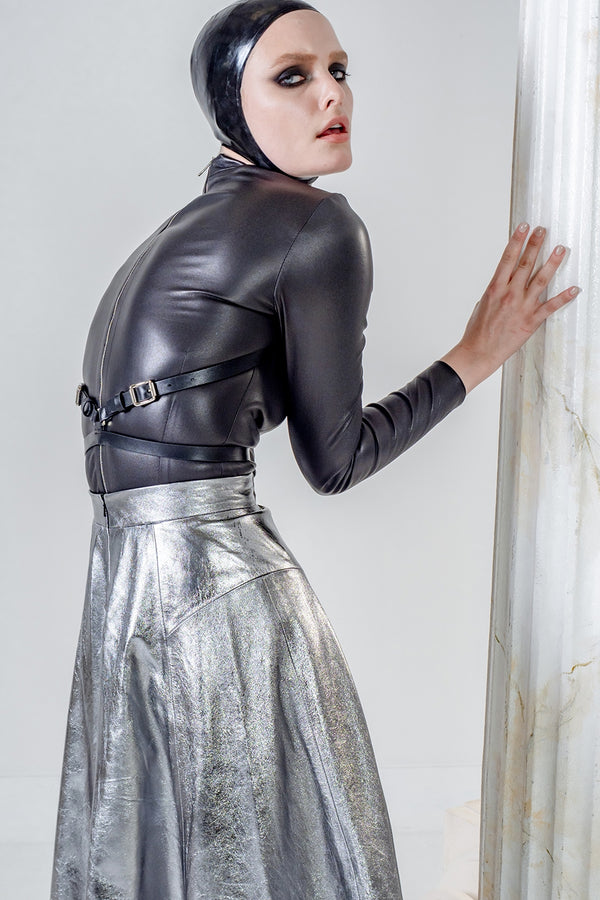Astrea skirt in silver leather
