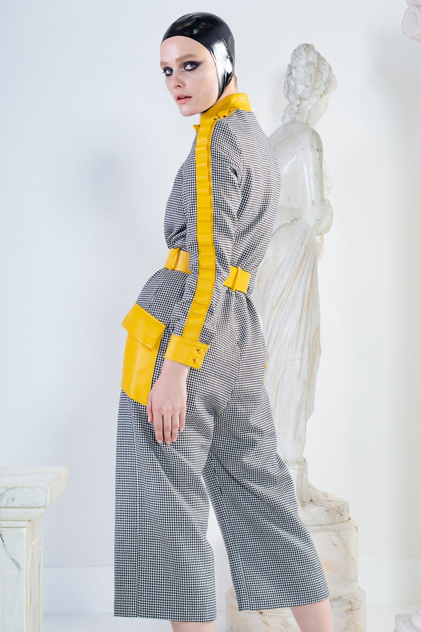 Metis jumpsuit in wool and leather