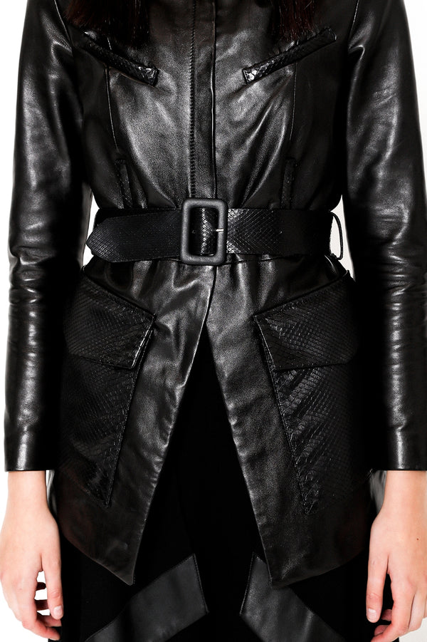 Chimera black belted soft leather jacket with python details
