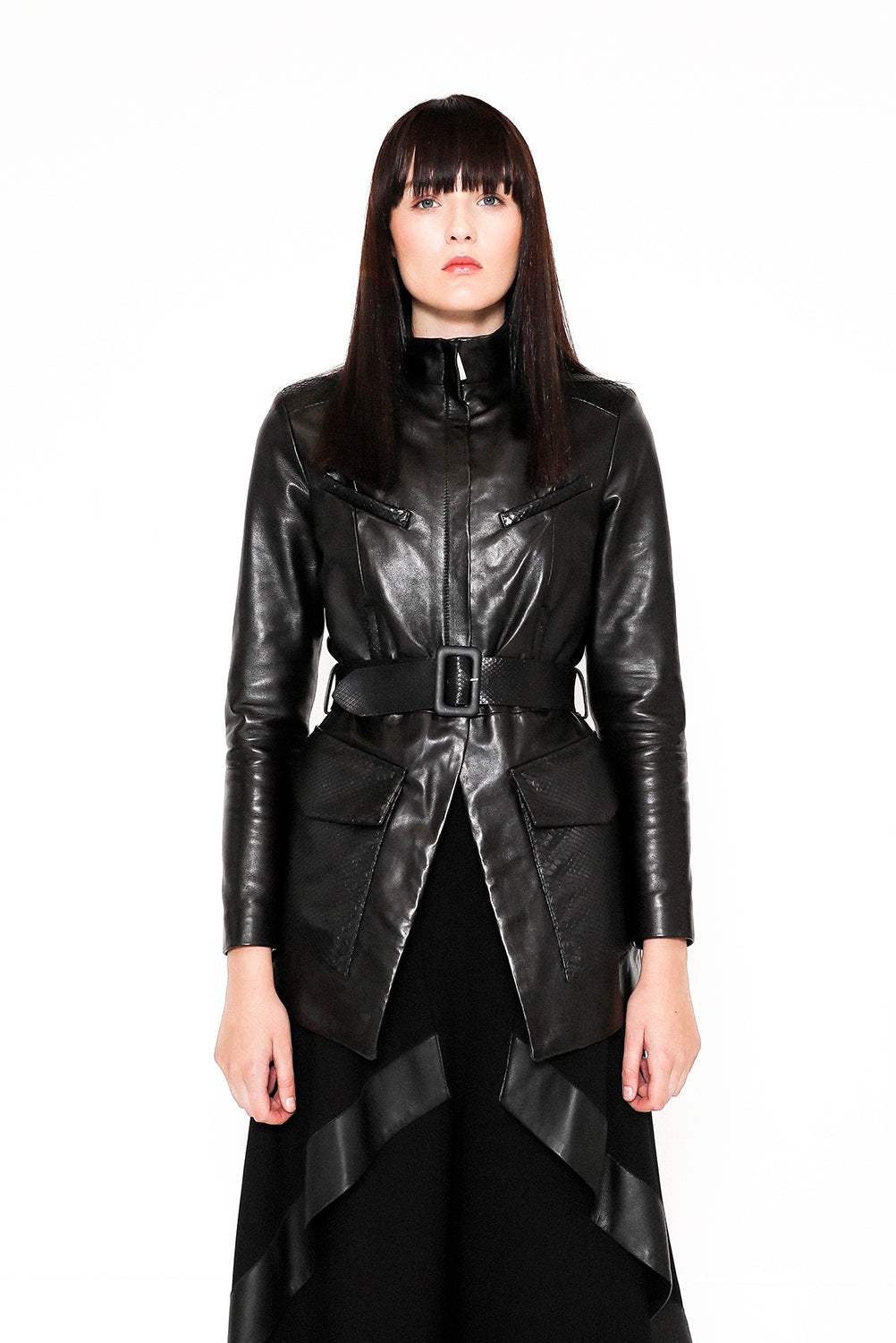 Chimera black belted soft leather jacket