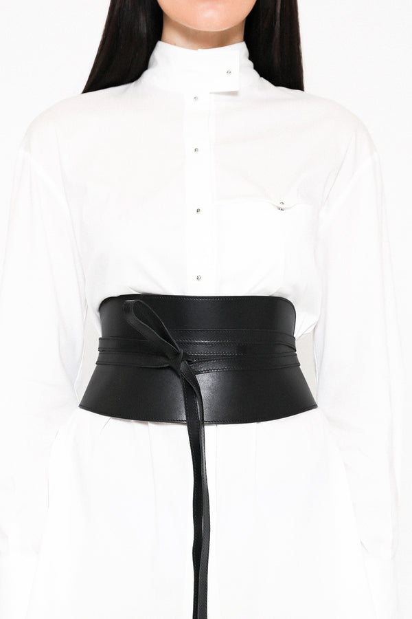 Pitch black corset belt in leather