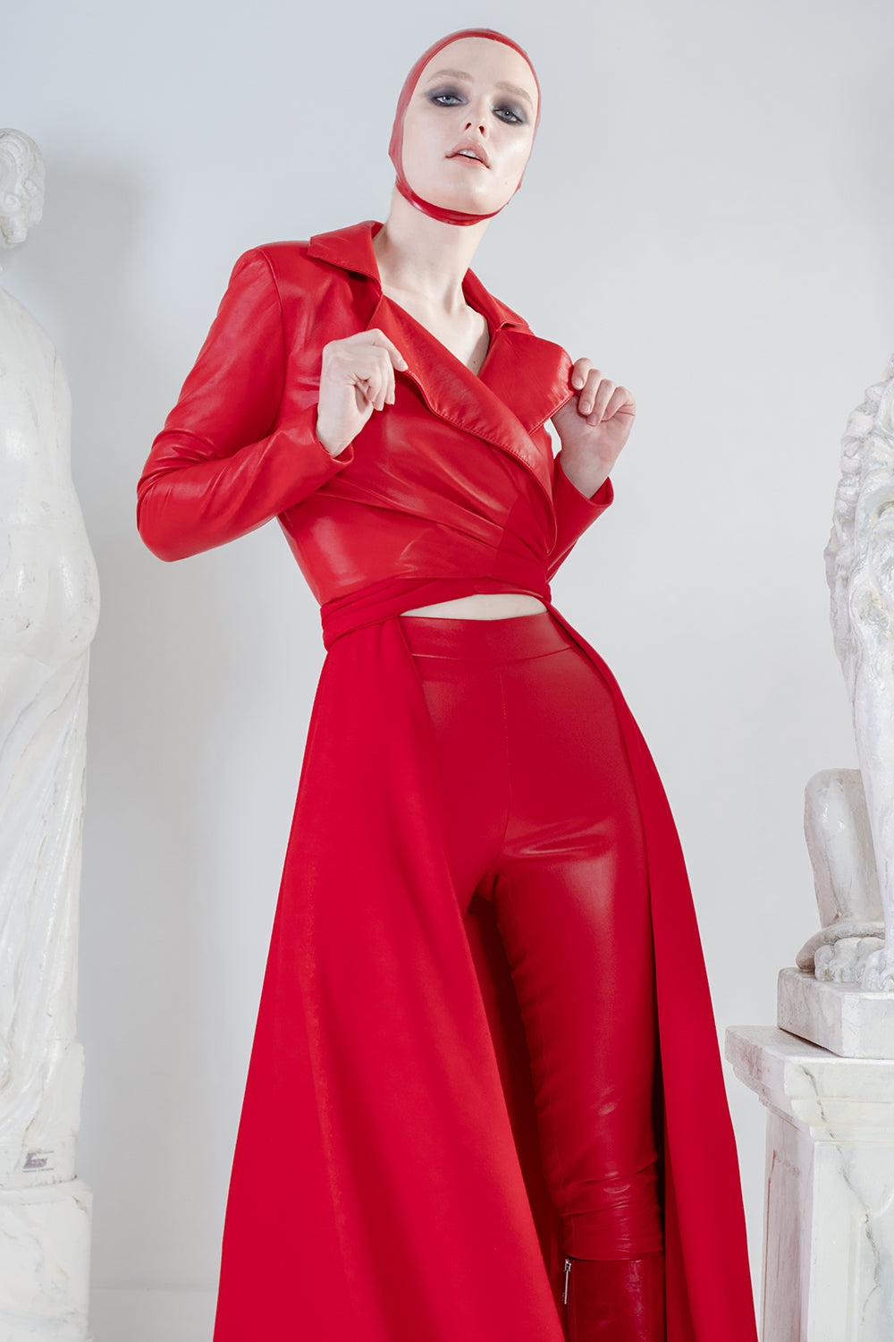 Red stretch leggings in top quality leather