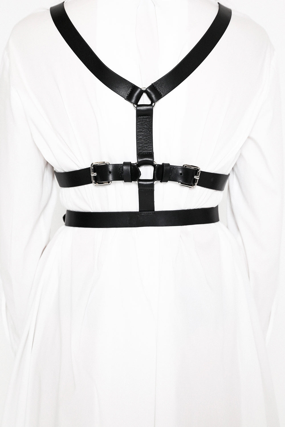 black leather harness with silver metal trims