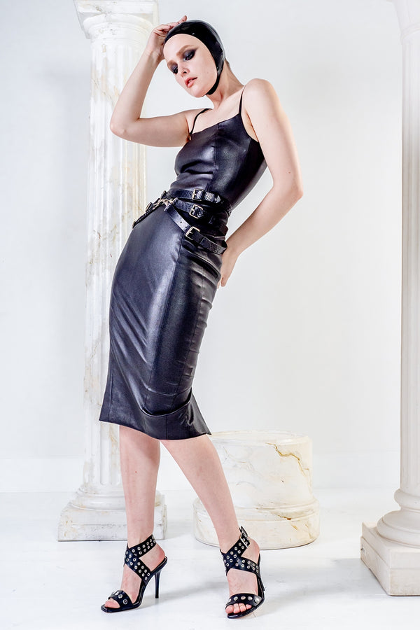 Psyche stretch black LBD leather dress with square neck and straps
