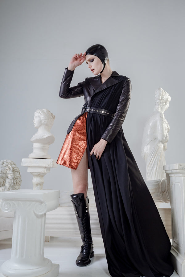 Hecate show piece leather jacket with long tale and studded leather belt