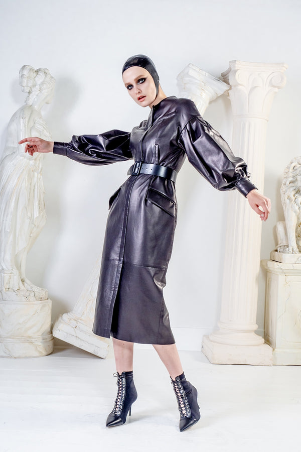 Medea black midi leather dress with oversized sleeves