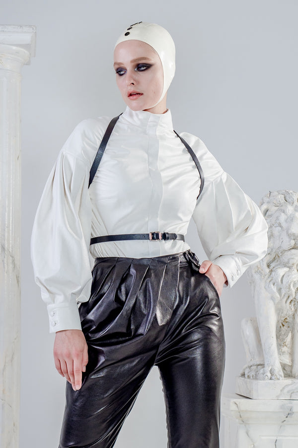 Aura white leather shirt with puffy sleeves
