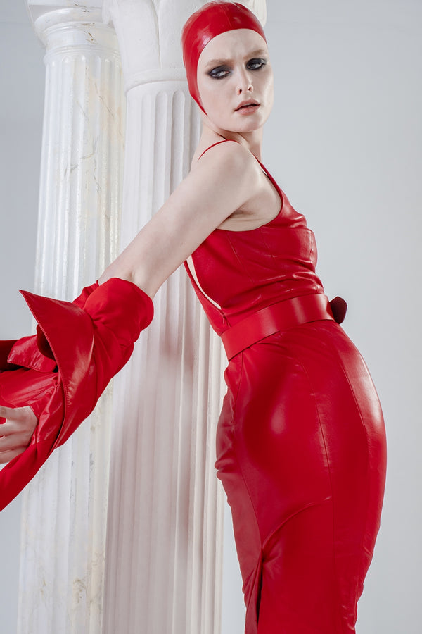 Psyche stretch red leather dress with V-neck and straps