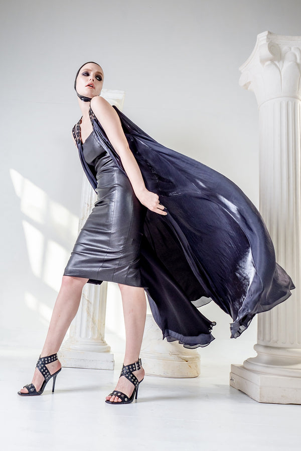 Moirai overdress in sandwash silk and leather