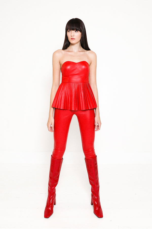 Dysis strapless fitted corset  top with pleats and red leather leggings