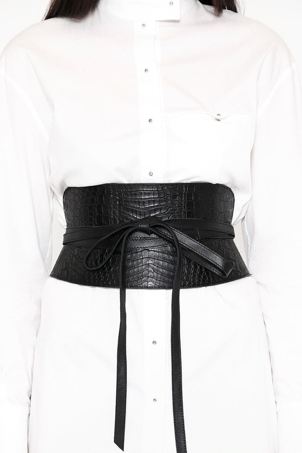 CORSET BELT - CAIMAN PITCH BLACK