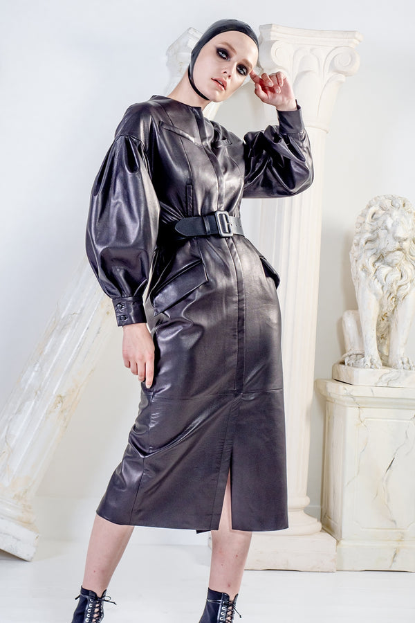 Medea black leather dress with oversized sleeves and belt