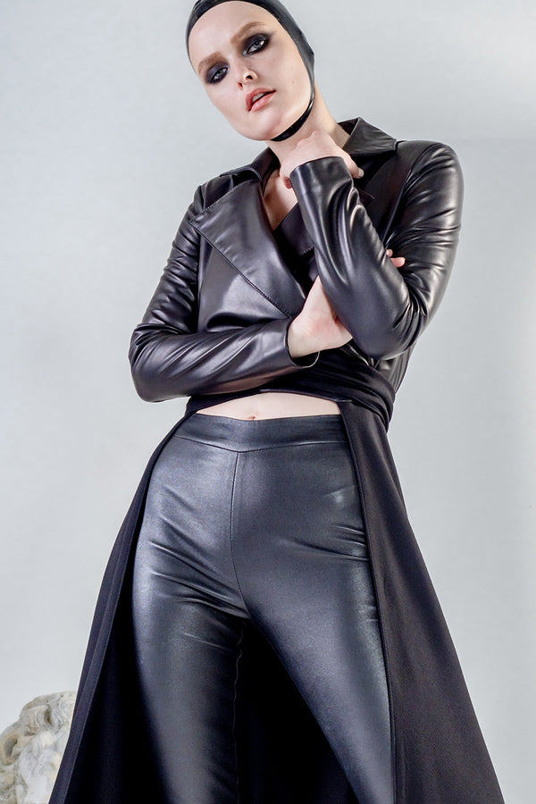 Gaia long black leather coat