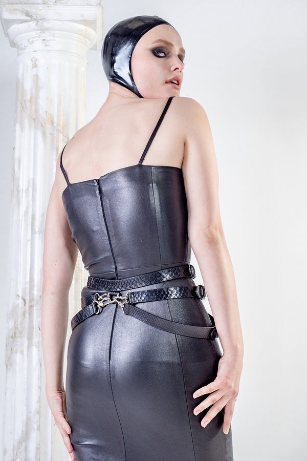 Top quality black stretch leather dress luxury