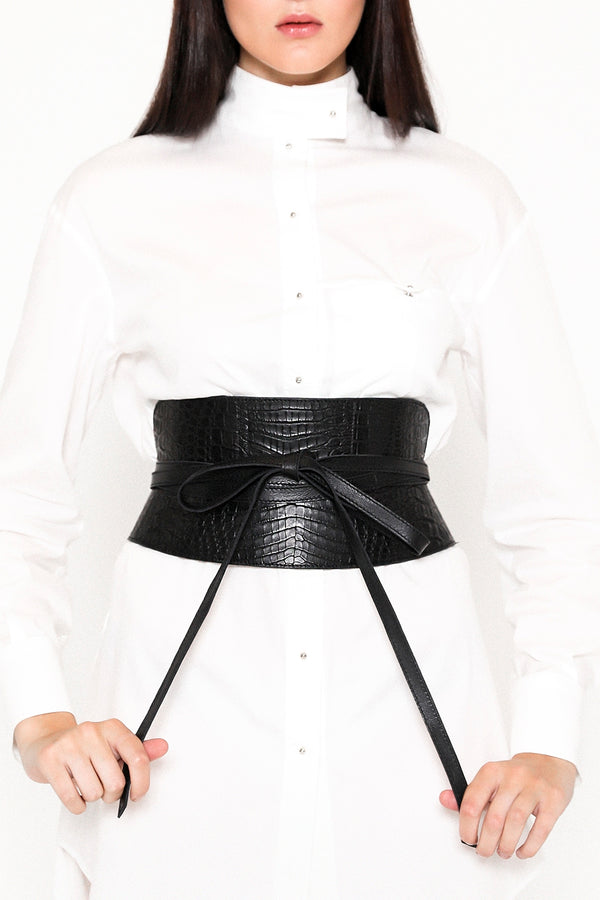 Caiman leather corset obi belt in pitch black