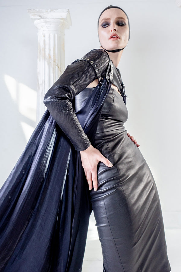 Stretch fitted black leather dress with bolero